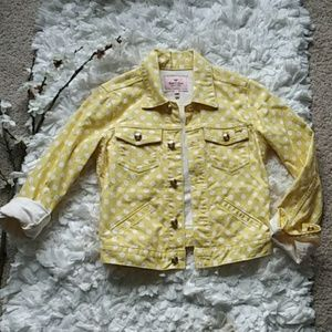 Juicy Couture yellow polka dots jean jacket